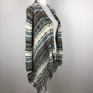 Sun & Shadow Fringe Open Front Cardigan Striped S